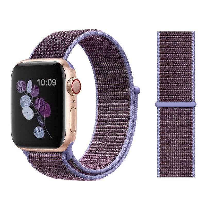 Для наручных часов Apple Watch, версии 3/2/1 38 мм 42 мм нейлон мягкий дышащий нейлон для наручных часов iWatch, сменный ремешок спортивный бесшовный series4/5 40 мм 44 мм - Цвет ремешка: Color34 Lilac
