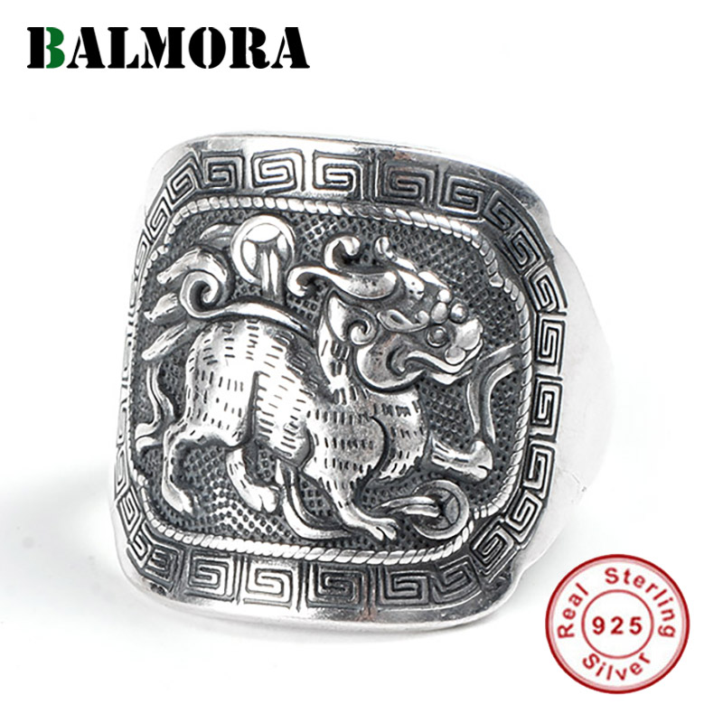 BALMORA 990 Pure Silver Kylin Good Wish Animal Punk Open Stacking Rings For Men Couple Gift Vintage Cool Fashion Jewelry Anillos