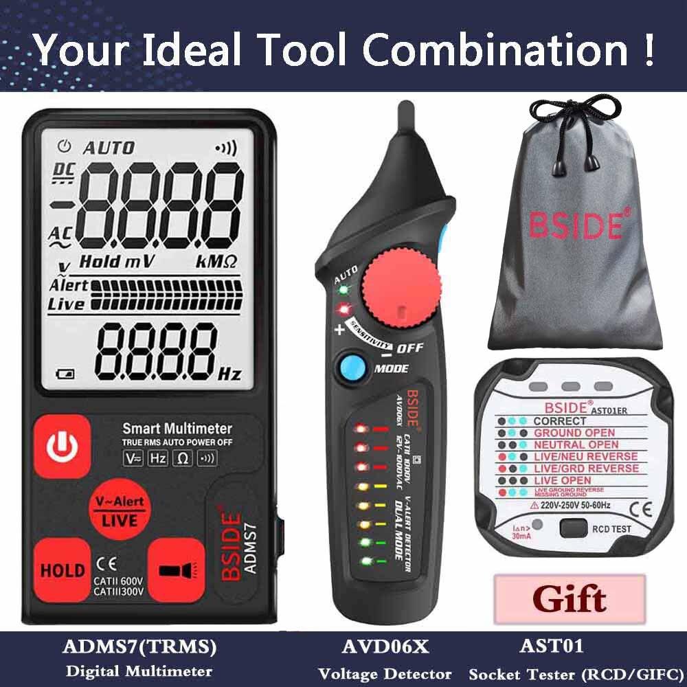 """Ultra-Portable Digital Multimeter BSIDE ADMS7 S9CL Large 3.5"""" LCD 3-Line Display Voltmeter DMM AC DC Voltage NCV Ohm Hz Tester"""
