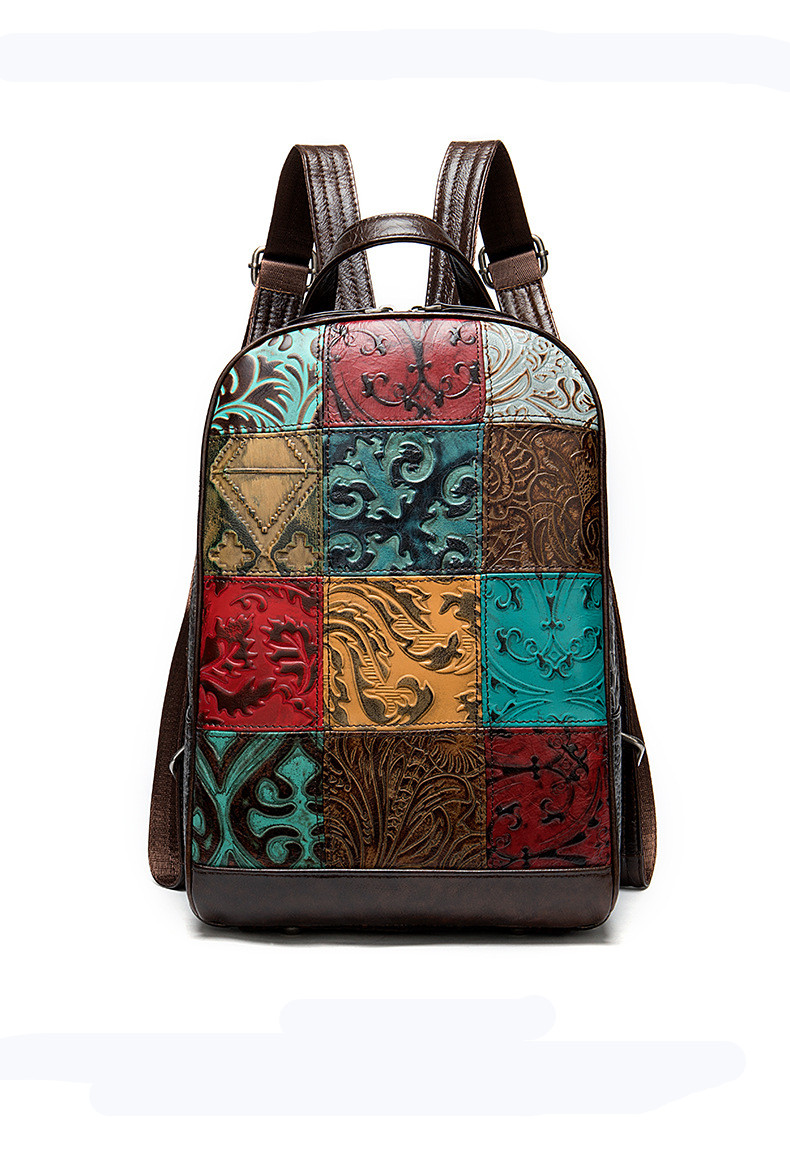Genuine Leather Cow Skin Vintage Colorful Paid Backpack For Women