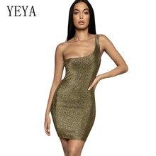 YEYA New Summer Elegant Dress Women Celebrity Sexy Sleeveless One-Shoulder Female Bodycon Vestidos Night Out Party