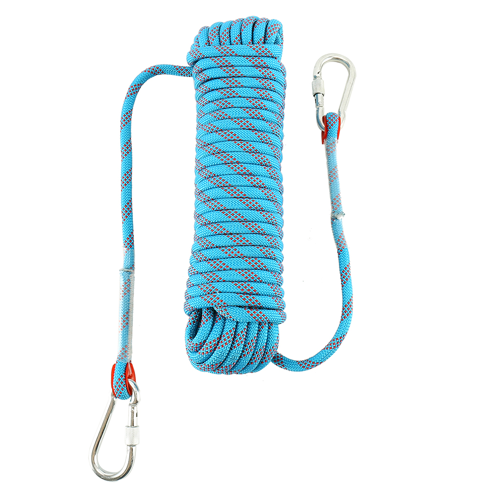 Outdoor Rock Climbing Rope Length 20m Diameter 10mm  Survival Fire Escape Safety With Carabiner  Mountaineering Equipment