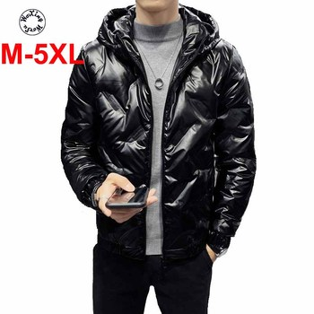 Men's down coat special shiny light and thin white duck down coat hooded jacket big yards M to 5XL woxingwosu girl s hooded down coat large code light down jacket female short super light and thin s to 4xl 5xl xl 7xl 8xl
