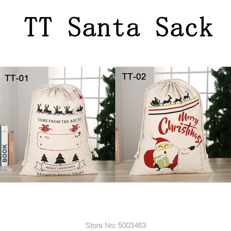 1pcs Christmas Bag New Arrival Santa Sack Drawstring Party Canvas Bag Santa Claus Kids Bags Christmas Gift Hot Sale