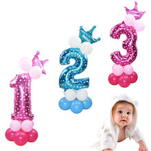 32inch Number 0-9 Foil Balloon Crown Figures Air Helium Ballon For Anniversary Baby Shower Kids Birthday Party Decoration