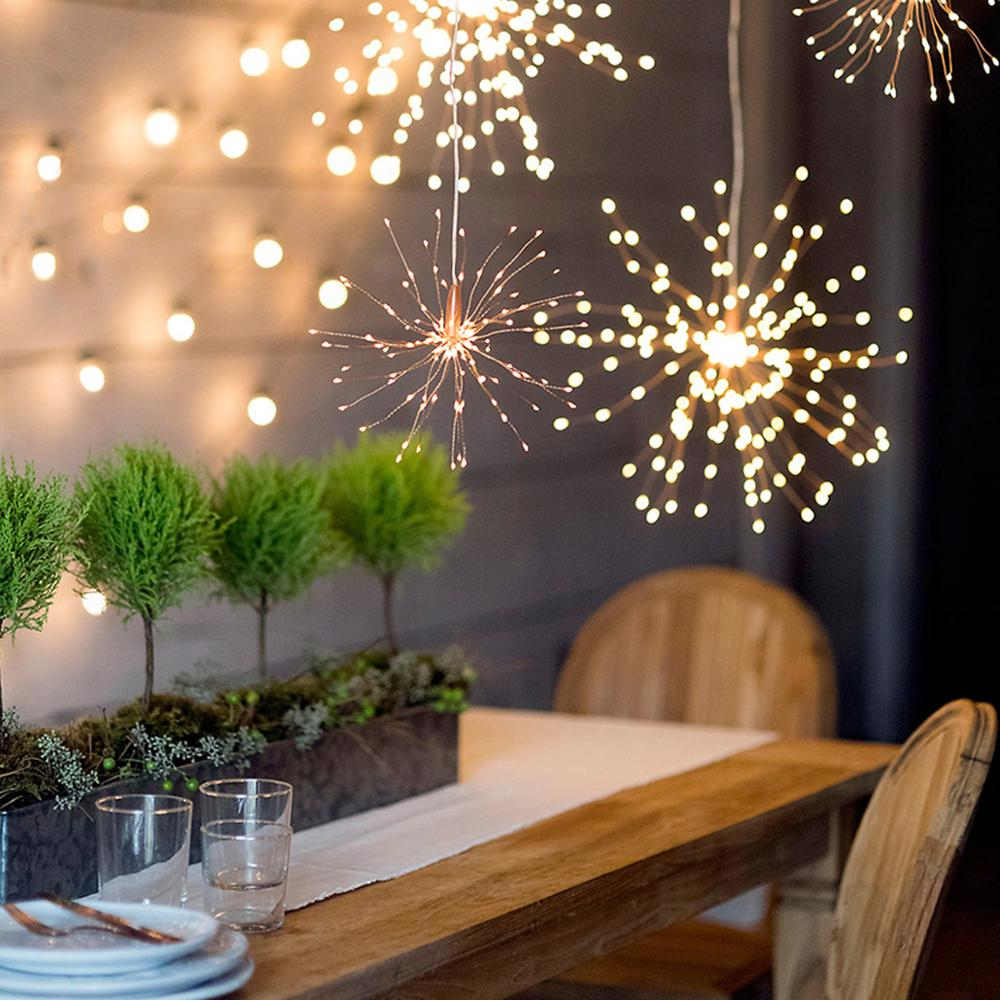 Garland Lights Outdoor Firework Christmas Lights Power LED String Copper Wire Fairy Lights Xmas Party Decor Lamp