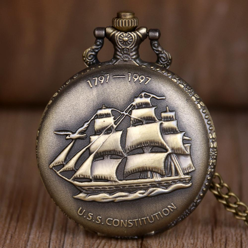 New Sailing Canvas Boat  Necklace Mens Pocket Watch Vintage Bronze Design Antiuqe Quartz Watches Necklace Fob Chain Gifts