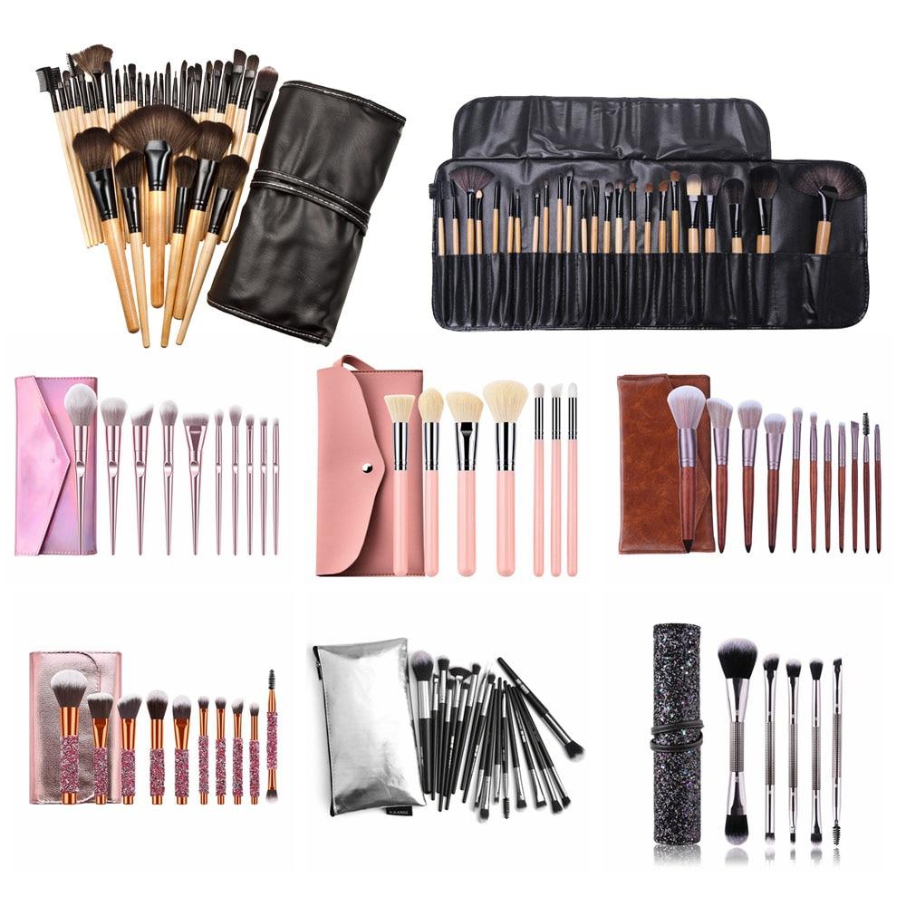 1 Juego de pinceles de Maquillaje profesional sombra de ojos polvo para pestañas Brocha Maquillaje con bolsa + esponja de Maquillaje