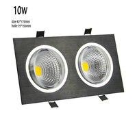 1 pçs/lote 10w recessed cabeça dupla cob led downlight led spot light led teto para baixo lâmpada de luz