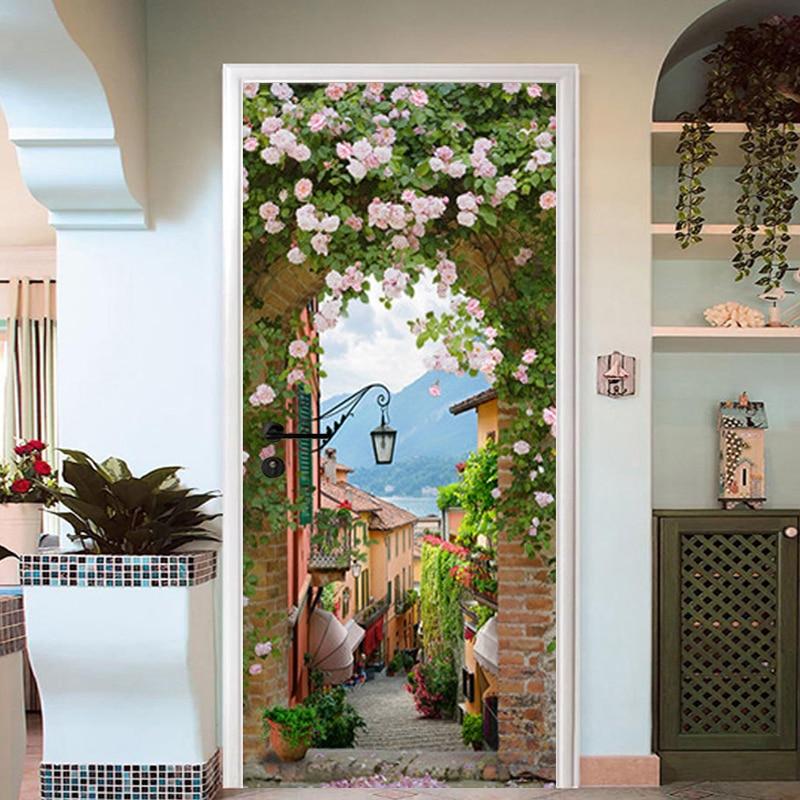 3D Wallpaper European Style Street Rose Door Sticker Living Room Kitchen PVC Waterproof Wall Stickers Self-Adhesive Door Poster