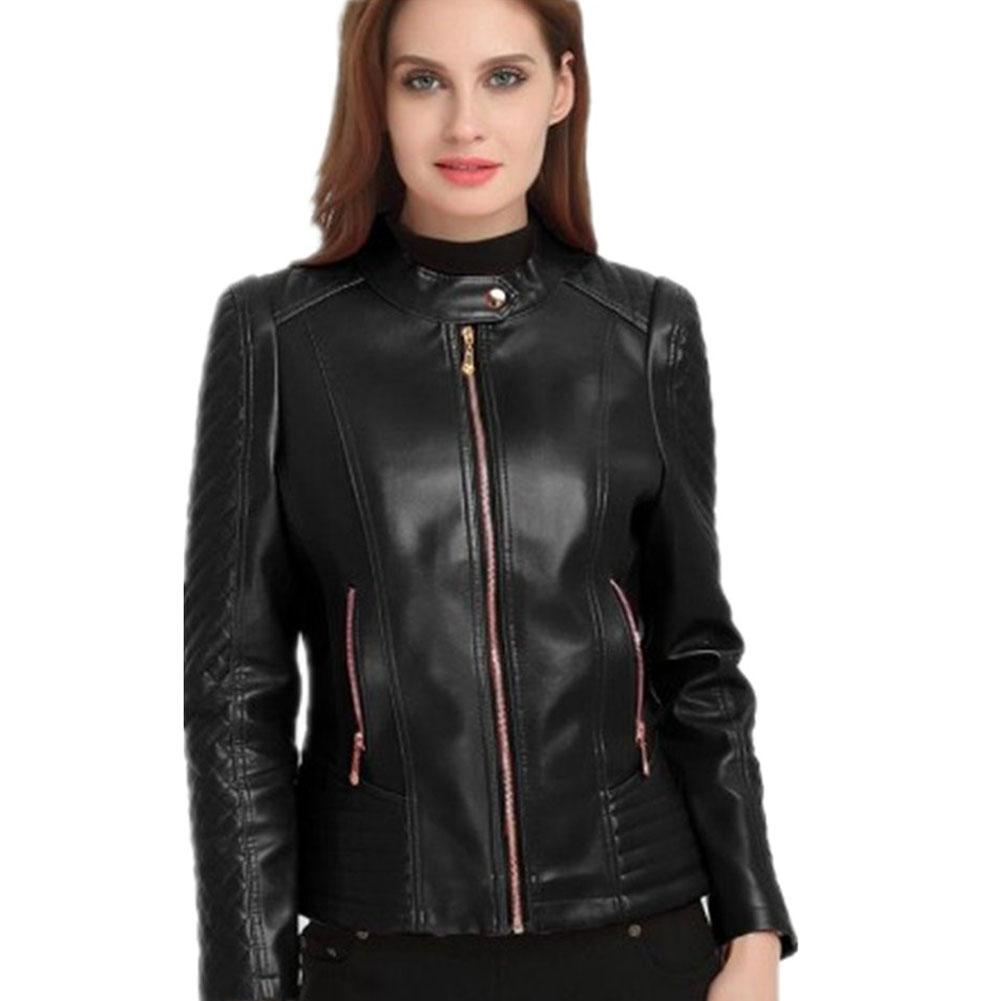 Yiwa Woman Short Motorcycle Pu Leather Zipper Red   Jacket   standing collar Women   Basic     Jackets   Autumn Large Sizes Outerwear