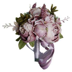 Image 1 - Europese Vintage Bridal Wedding Boeket Kunstmatige Dusty Pioen Bloemen Nep Vetplant Kant Lint Bruidsmeisje Party Decor