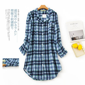 Image 4 - בתוספת גודל סתיו כותונות נשים כותנות לילה הלבשת חורף sleepshirts 100% מוברש כותנה טרי נשים לילה שמלה