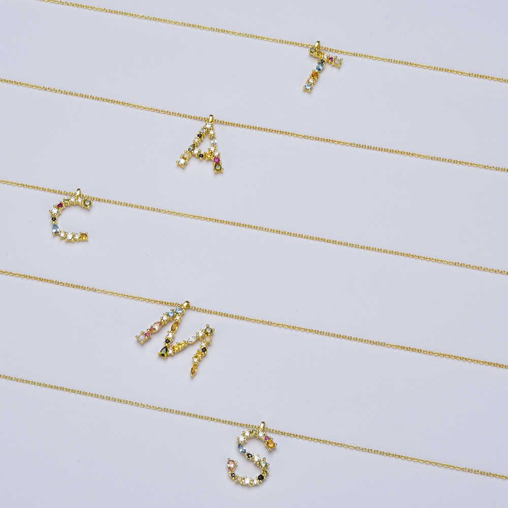 ANDYWEN 925 Sterling Silver Oro Leter E M Del Pendente di Alfabeto Iniziale Collana Opale Blu Arcobaleno Sottile Piccolo Della Collana Dei Monili