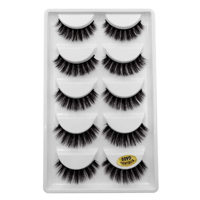 5 Pairs 3D Mink Hair False Eyelashes Natural/Thick Long Eye Lashes Wispy Makeup Beauty Extension Tools Makeup Eyelashes Volume 5