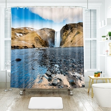 3d Natural Scenery Pattern Western Canyon Waterfall Shower Curtains Waterproof Thickened Bath for Bathroom Customizable