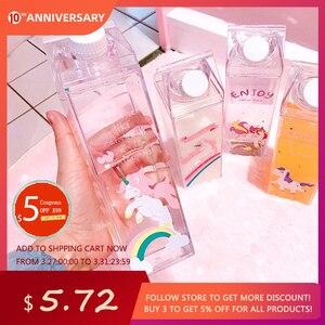 Image 1 - 500ml çocuklar sevimli Unicorn su şişesi spor plastik çalkalayıcı taşınabilir şişe süt karton yenilik Flamingo süt kupası