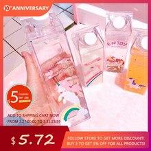 Botella de agua de unicornio para niños, 500ml, coctelera de plástico deportiva, botella portátil, cartón de leche, taza de leche de flamenco