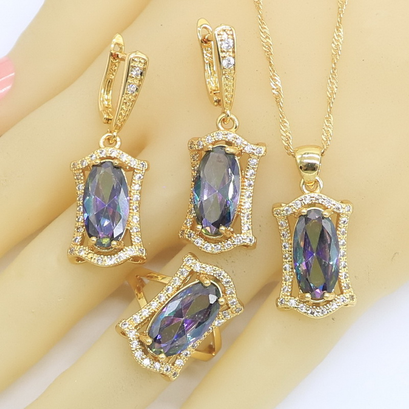 Geometric Rainbow Zircon Gold Color Jewelry Sets for Women Party Wedding Hoop Earrings Necklace Pendant Rings Free Gift Box