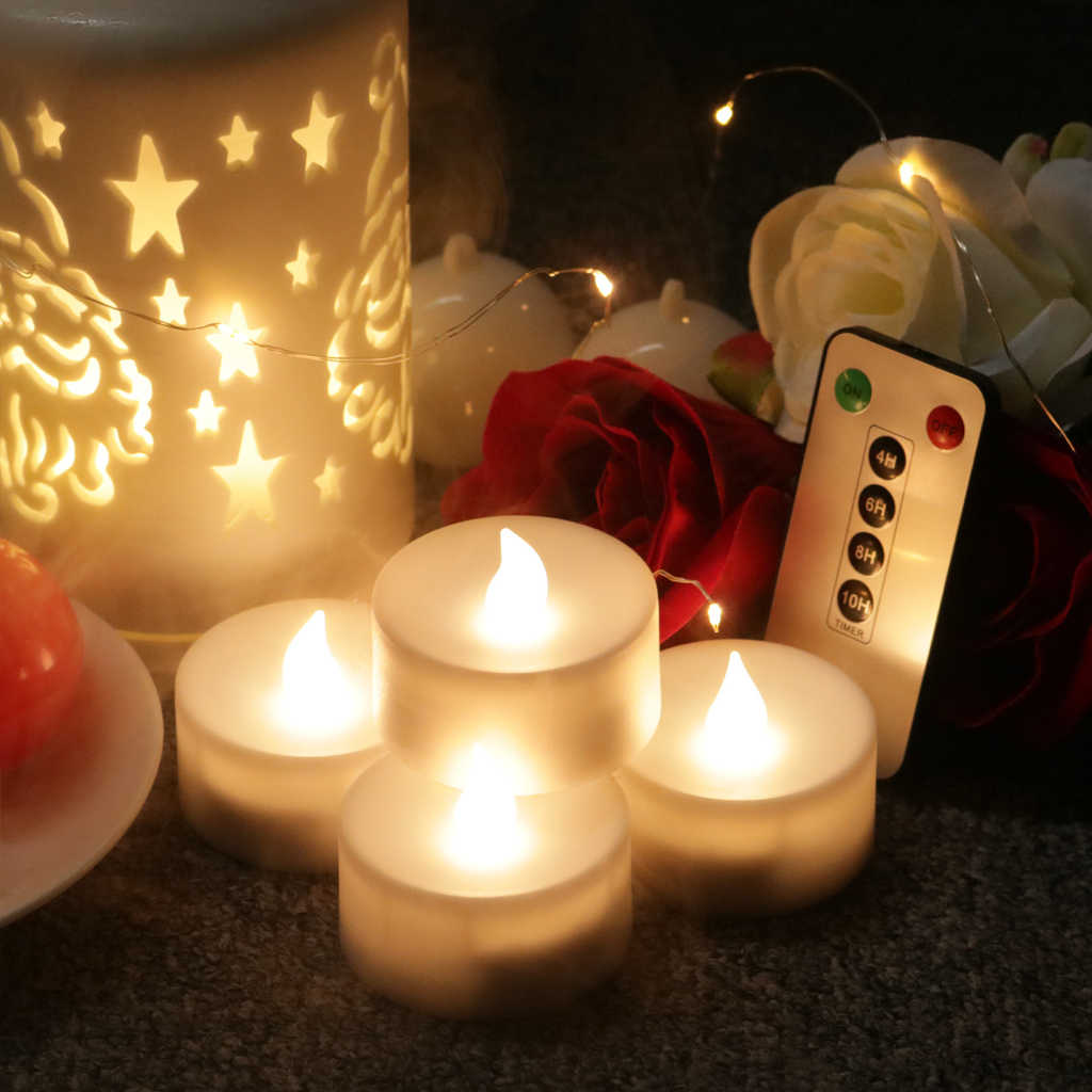 6 CHIẾC/12 Thanh Vắt Đèn LED Hoạt Động Bằng Pin Flameless Nến Nến Trà Đèn Đảng Nhà Thờ Nhà Decoartion với Điều Khiển Từ Xa
