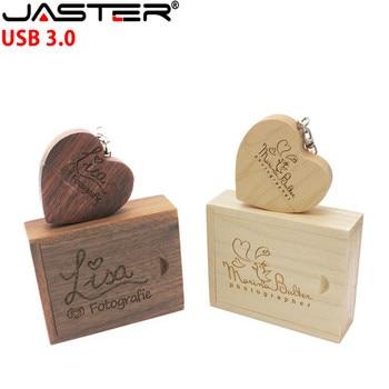 JASTER Maple Wood Custom LOGO Love Shape USB Flash Pen Drive 8GB 16GB 32GB 64GB USB 3.0 Flash Disk (Over 10pcs Free Logo)