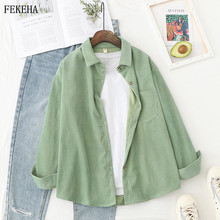 Corduroy Shirts Women Blouses Outwear Tunic Lady Tops And Blouses Long Sleeve Female Clothing Button Up Down Loose White Blue