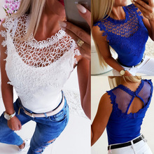 2019 Hot Selling Sexy Summer  Mesh O-neck Sleeveless Hollow Out Women Tops T Shirt Off The Shoulder for