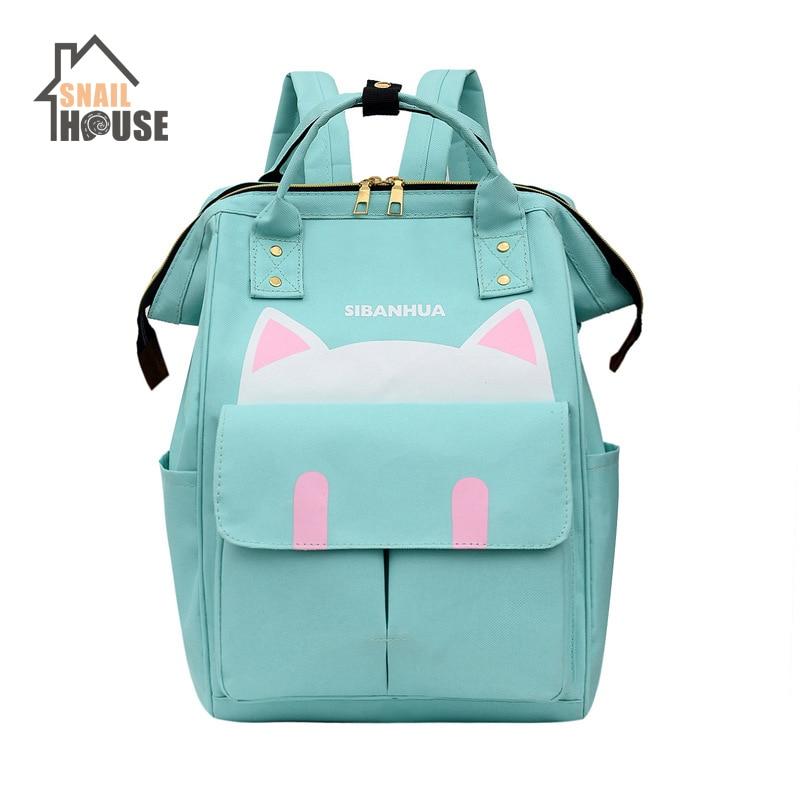 Snailhouse Cartoon Diaper Bag Backpack Large Maternity Nappy Handbags Women Baby Travel Backpack For Baby Care Zipper Mummy Bag