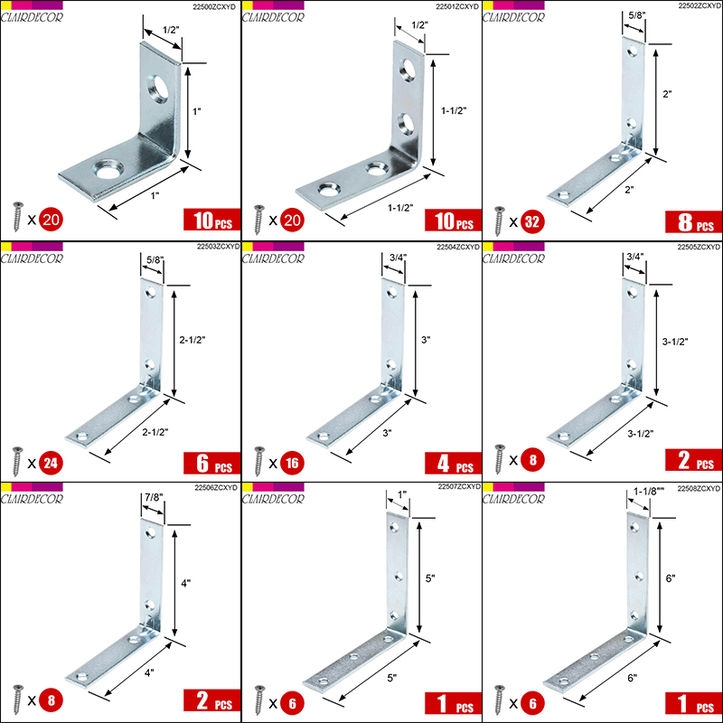 Angle Plate Corner Brace  L Shaped Flat Fixing Mending Repair Plates Brackets Repair Bracket
