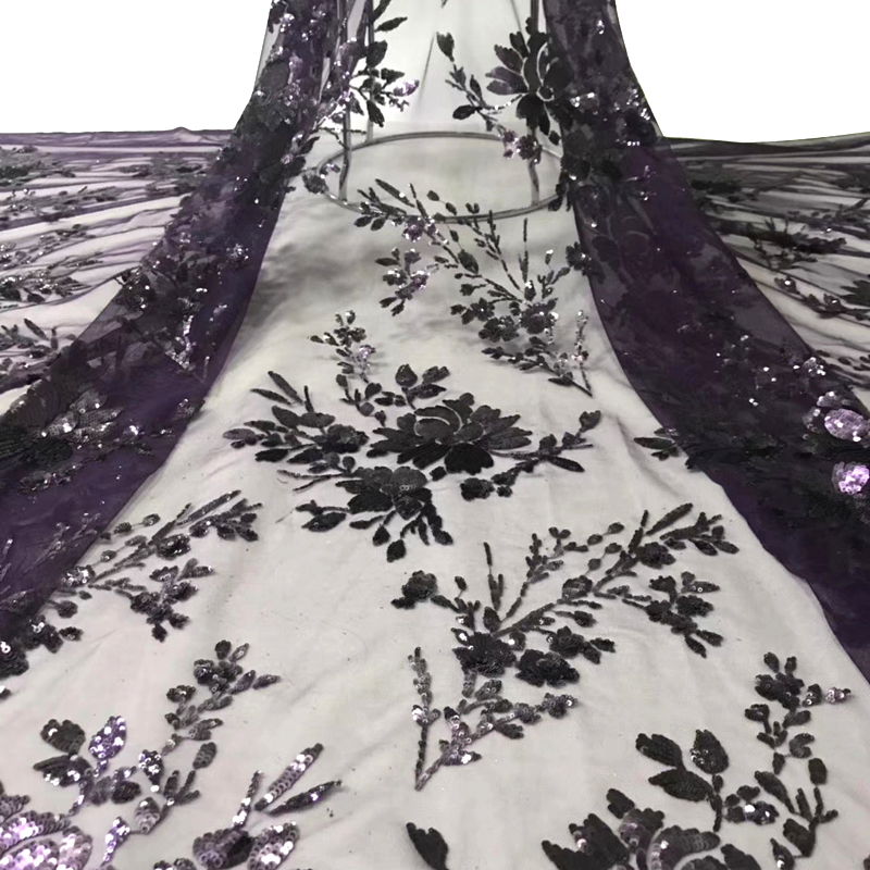 2020 African Lace Fabric Beautiful Black Flower Sequins Pattern Top Quality Swiss Voile Lace For Sexy Women Dress Tissu Dentelle
