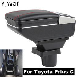 Dla Toyota Prius C podłokietnik ze schowkiem centralny pojemnik do przechowywania pudełko z uchwytem na kubek popielniczka akcesoria do modyfikacji wnętrza USB