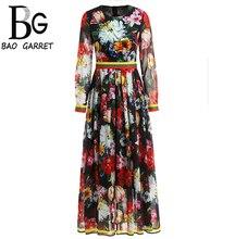 Baogarret 2019 New Fashion Runway AutumN Dress Womens Long Sleeve Elegant Vintage Floral Print Chiffon
