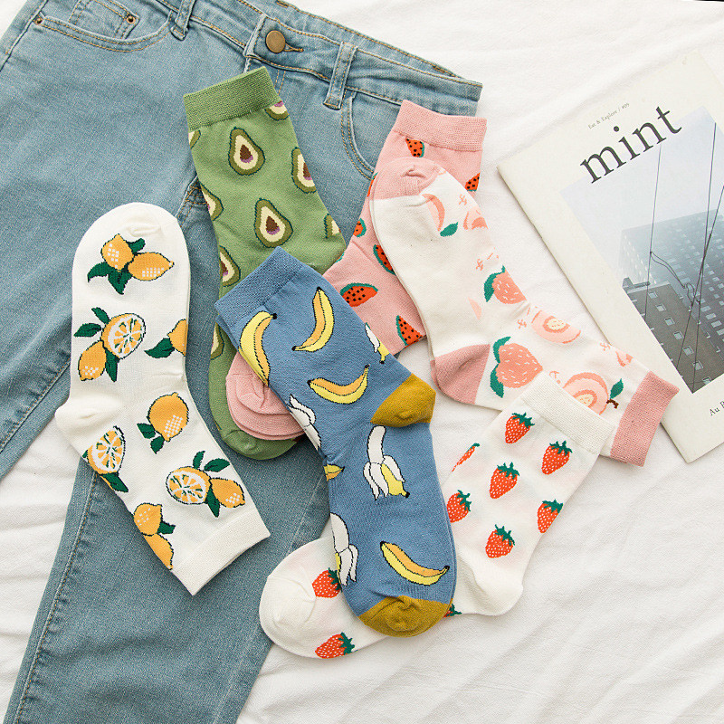 Spring Kawaii Cartoon Fruit Woman Socks Cotton Korean Streetwear Pink Socks Women With Avocado And Watermelon For Ladies 31302