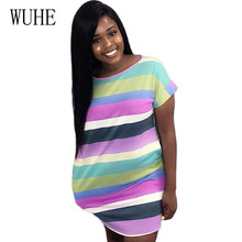 цена на WUHE New Fashion Striped Print Women Mini Dress Summer Short Sleeve O-neck Casual Loose Dress Elegant Hollow Out Robe Femme
