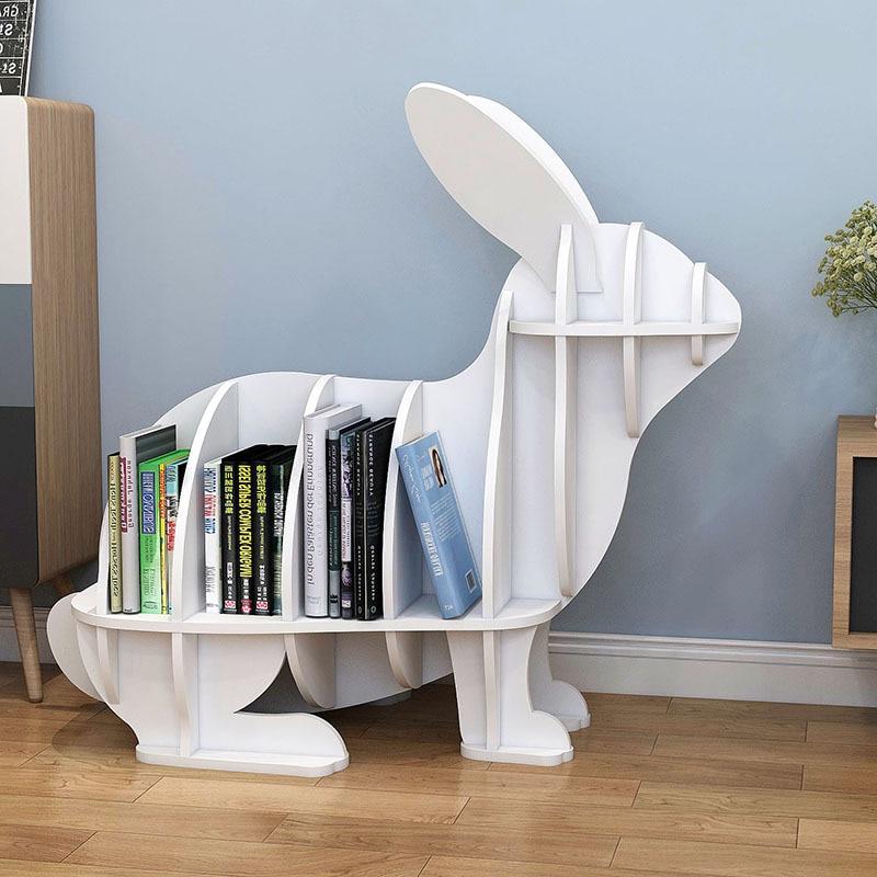 Creative Animal-shaped Rabbit Bookcase Kindergarten Kids Furniture Children's Bookshelf Rack Home Decoration Floor Ornaments