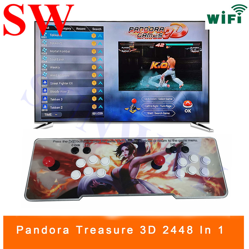 3D Pandora Games Arcade Game Console TV Home Can Connect WIFI Download More  Games 2448 In 1 (134 Of 3D Game) PCB Board