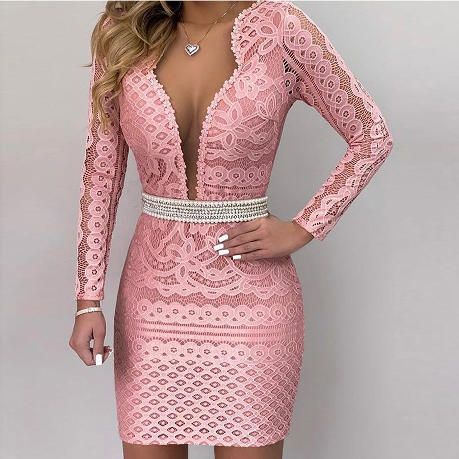 Pink High V-neck Lace Cocktail Dresses Sexy Long Sleeves Robe Semi Formal Elegant Party 2019 Short Vestidos Homecoming Dress