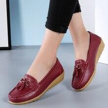 цена на Women Leather Slip on Flat Shoes Casual Leisure Driving Flats Round Toe Tassels Summer Flats