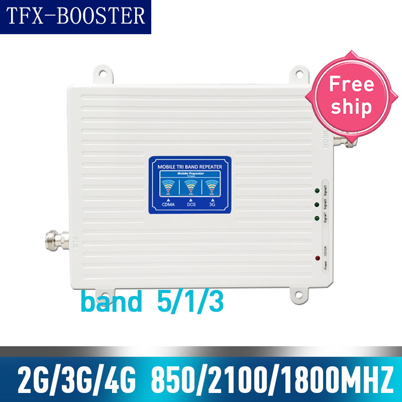 TFX-BOOSTER 850mhz 1800mh 2100mhz Tri Band Signal Booster 2g 3g 4g CDMA WCDMA UMTS Cellular Repeater 850/1800/2100mhz Amplifier