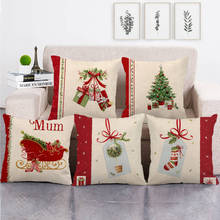 Pillowcases Merry Christmas Linen Santa Pillowcase Sofa Cushion Cover Home Decor 45 * 45cm