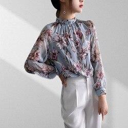 2019 Осень Женская Роскошная рубашка с длинным рукавом из 100% натурального шелка с принтом и блузки для женщин
