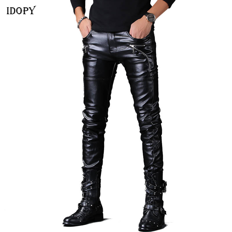 Idopy Men`s Faux Leather Pants Punk Style Skinny Zippers Night Club Motorcycle Black PU Leather Soft Trousers