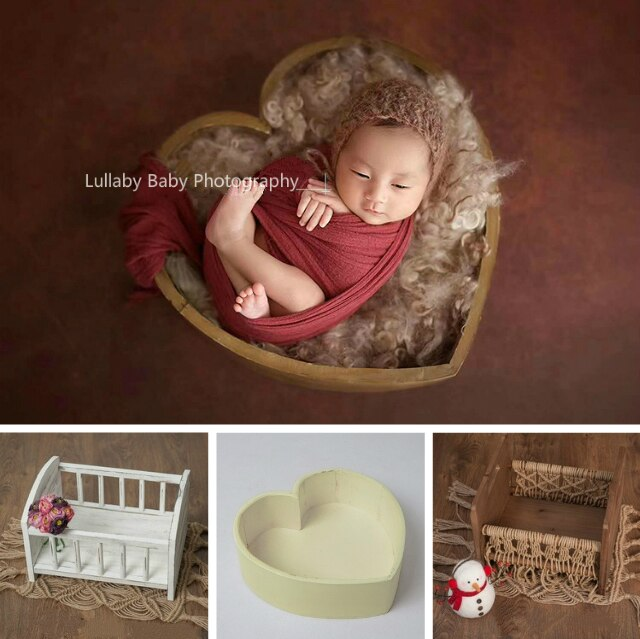 Baby Bed Photography Baby Crib Infant Heart-shaped Wooden Container Photo Studio Photography Prop Posing Props