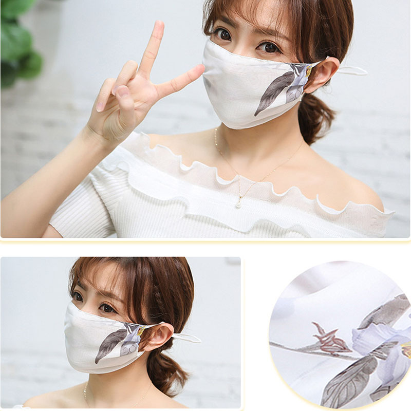 PM2.5 Anti-Haze Mouth Mask Breathable Chiffon Fashion Black Reusable Face Pink Shield Wind Proof Flower Mouth Cover Sunscreen