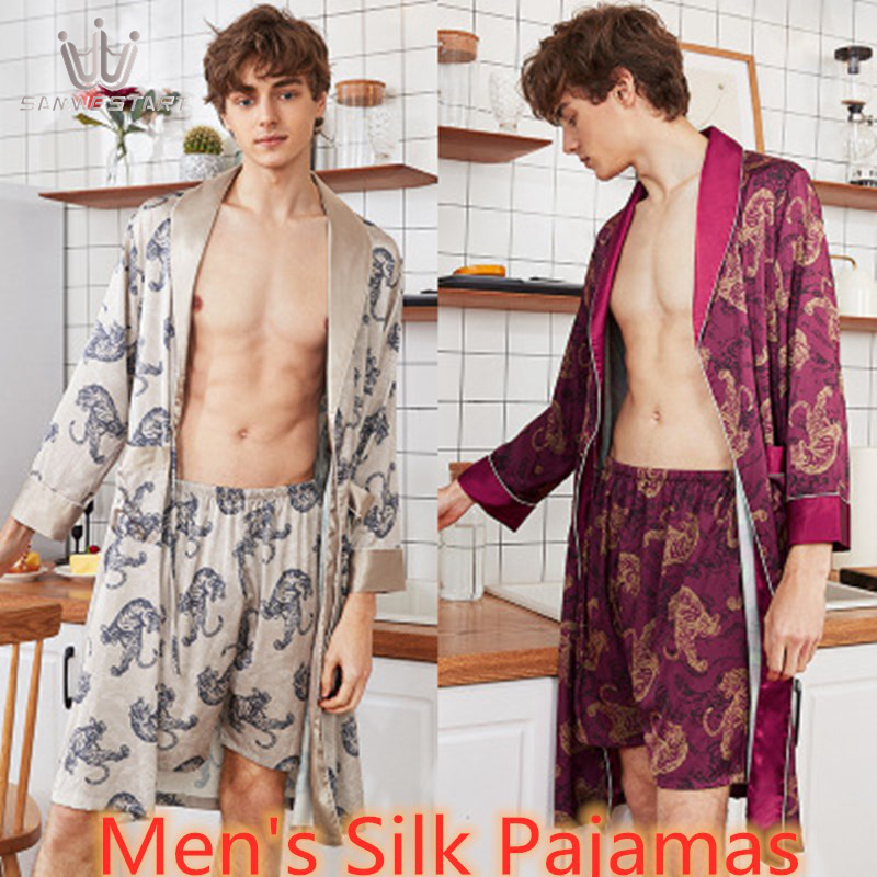 SAMWESTART Men's Stain Silk Pajamas Robe Sets Long Sleeve Short Pants Nightwear Gray Wine Red Loungewear Home Leisure Nightgrown
