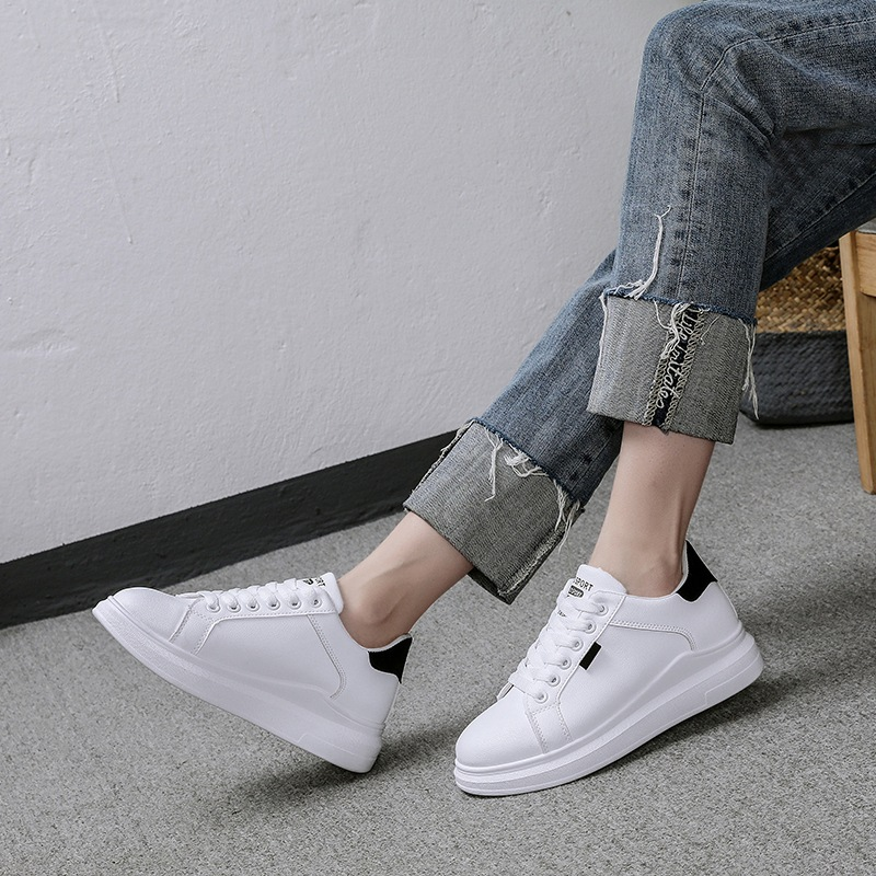 2019 Spring New Style Versatile Korean-style White Shoes-Style Thick Bottomed Sports Elevator Gas Flat Shoes