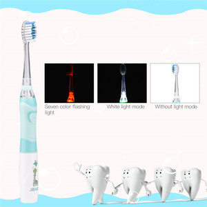 Image 3 - 2Pcs Baby Kids Sonic Electric Toothbrush Colorful LED Light Waterproof Children Soft Bristle Tooth Brush+4Replacement Brush Head