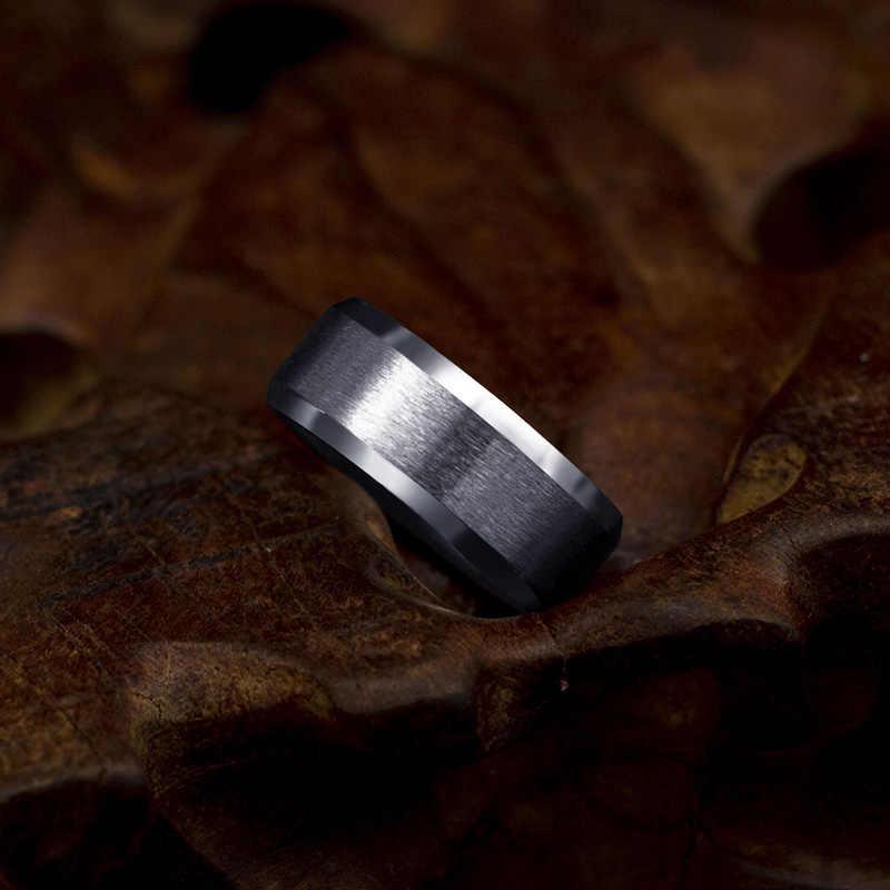8mm pierścień ze stali nierdzewnej mężczyzn wysokiej jakości biżuteria pierścień mężczyzn tytanu czarny