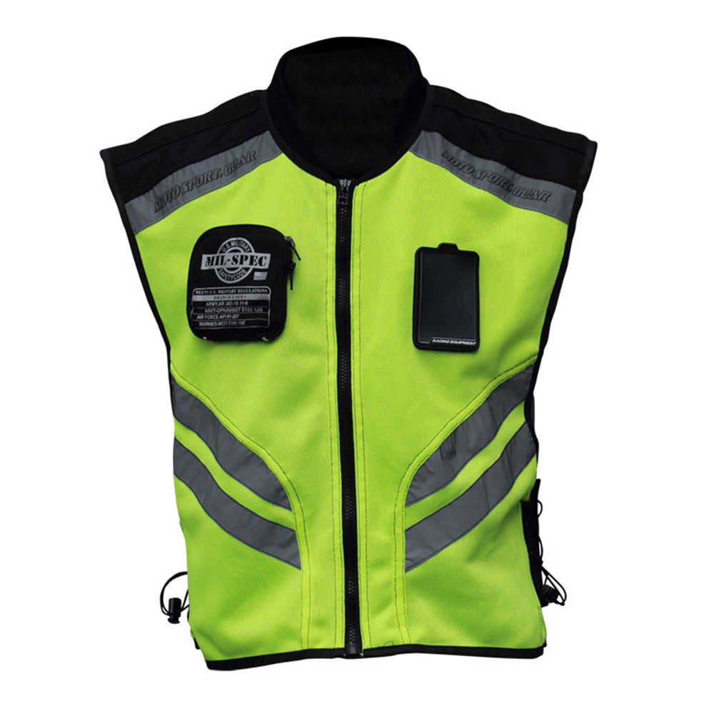 Sports Motorcycle Reflective Vest High Visibility Fluorescent Riding Safety Vest Racing Sleeveless Jacket Moto Gear (XXXL)