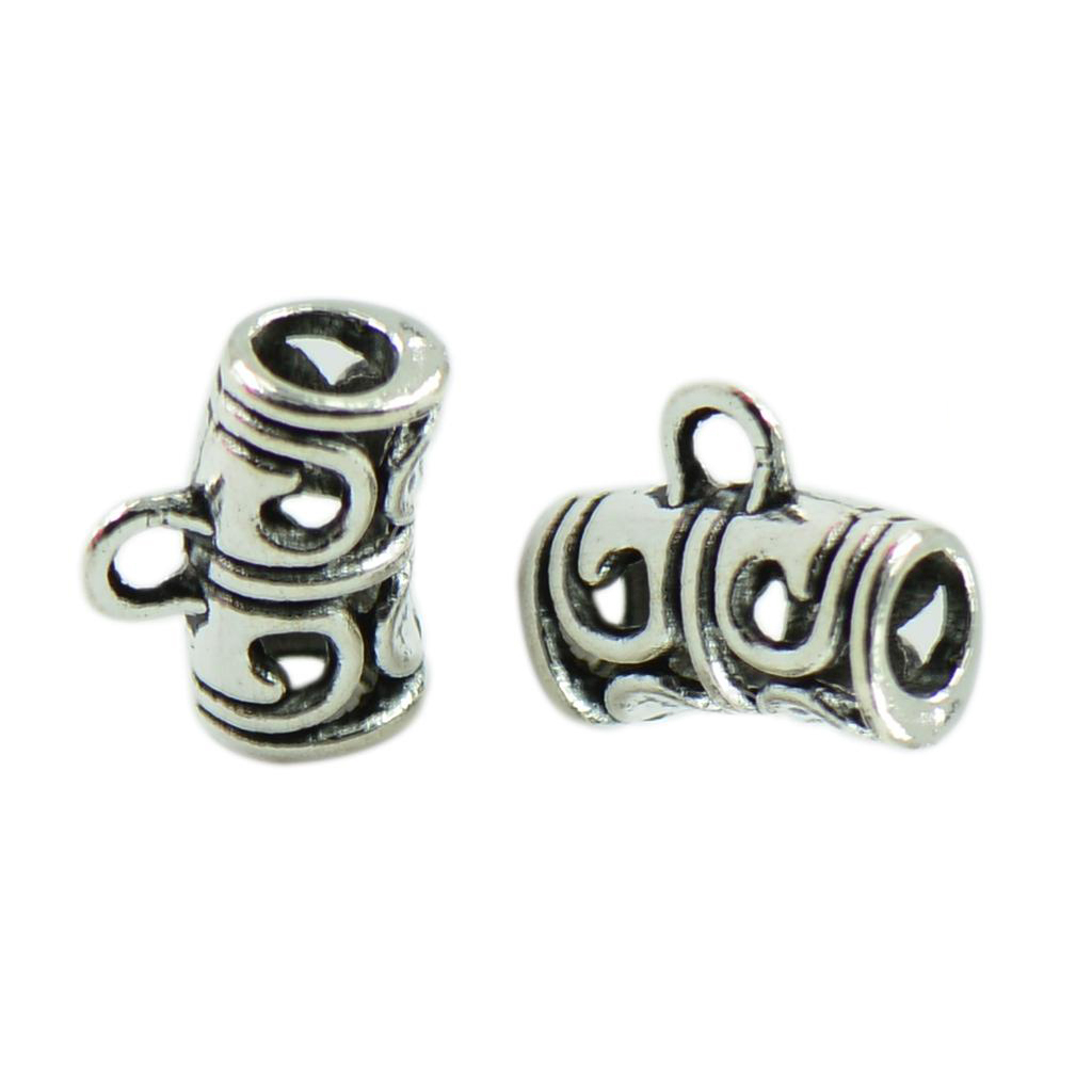 50 x Antique Silver Spacer Bail Beads Tube Charms Pendants Jewelry Making